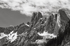 Liberty Bell Mountain & Early Winter Spires-6320-BW